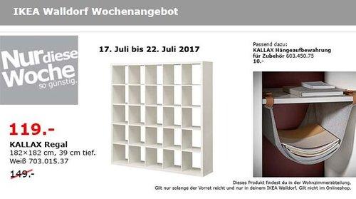 IKEA KALLAX Regal, 182x182 cm, 39 cm tief, weiß - jetzt 20% billiger