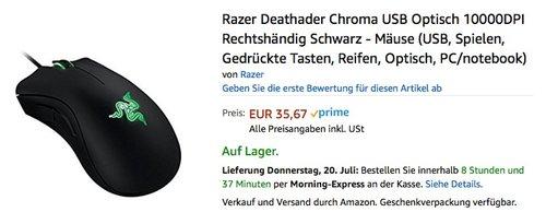 Razer DeathAdder Chroma RGB beleuchtete Ergonomische Gaming Maus - jetzt 35% billiger