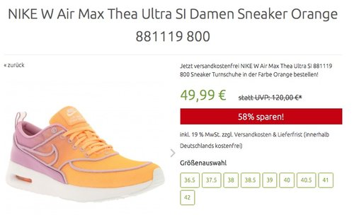 NIKE W Air Max Thea Ultra SI Damen Sneaker Orange - jetzt 29% billiger