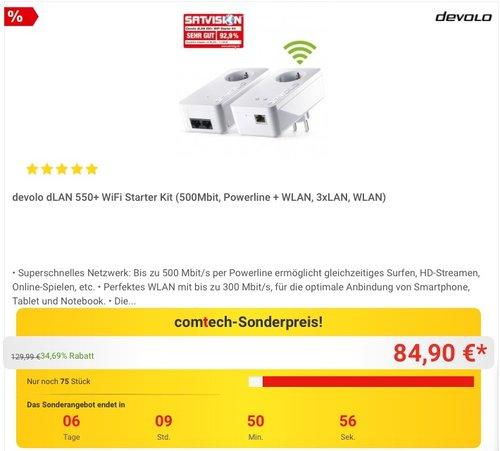 devolo dLAN 550+ WiFi Starter Kit Powerline - jetzt 24% billiger