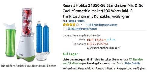 Russell Hobbs Standmixer Mix & Go Cool /Smoothie Maker(300 Watt) inkl. 2 Trinkflaschen mit Kühlakku - jetzt 33% billiger