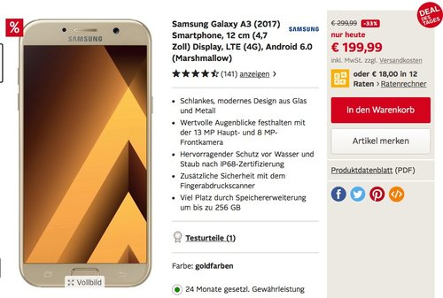 Samsung Galaxy A3 (2017) Smartphone (4,7 Zoll (12,04 cm) Touch-Display, 16 GB Speicher, Android 6.0 - jetzt 14% billiger
