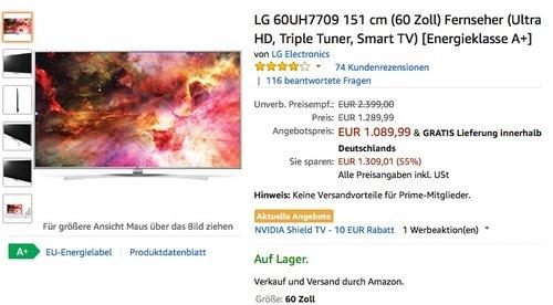 LG 60UH7709 151 cm (60 Zoll) Fernseher (Ultra HD, Triple Tuner, Smart TV) - jetzt 16% billiger