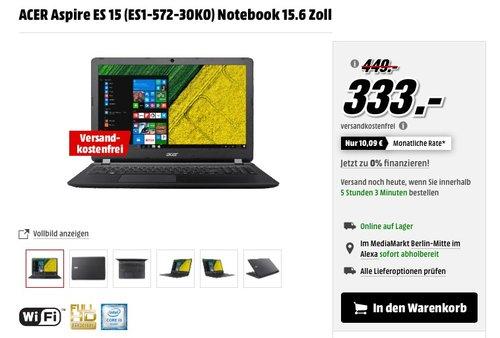 ACER Aspire ES 15 (ES1-572-30K0) Notebook 15.6 Zoll - jetzt 21% billiger