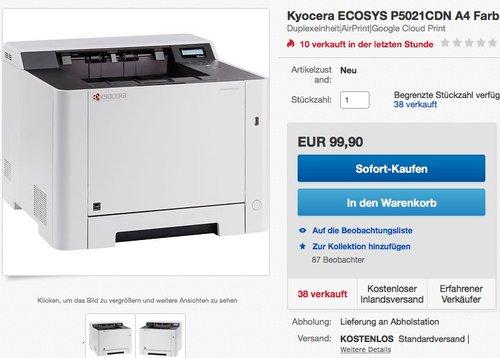 Kyocera ECOSYS P5021CDN A4 Farblaserdrucker - jetzt 25% billiger