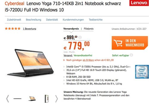Lenovo Yoga 710 35,56cm (14 Zoll Full HD IPS) Slim Convertible Notebook (Intel Core i5-7200U, 8GB RAM, 256GB SSD, Intel HD Grafik 620, Windows 10 Home) schwarz - jetzt 13% billiger