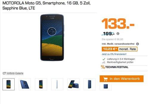 Motorola Moto G5 Smartphone (12,7 cm (5 Zoll), 2 GB RAM/16 GB, Android), Dual SIM - jetzt 25% billiger