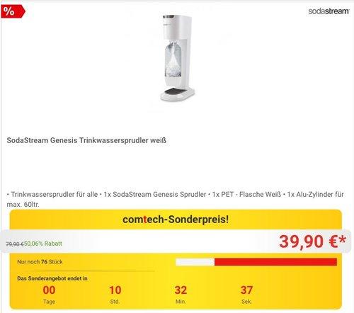 SodaStream Genesis Trinkwassersprudler + Flasche + Zylinder weiß - jetzt 39% billiger