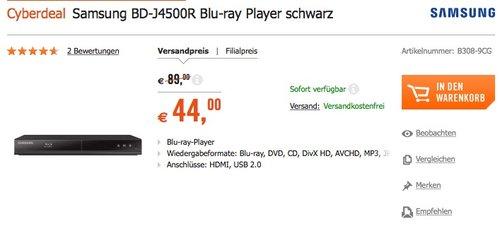 Samsung BD-J4500R Blu-ray Player - jetzt 24% billiger