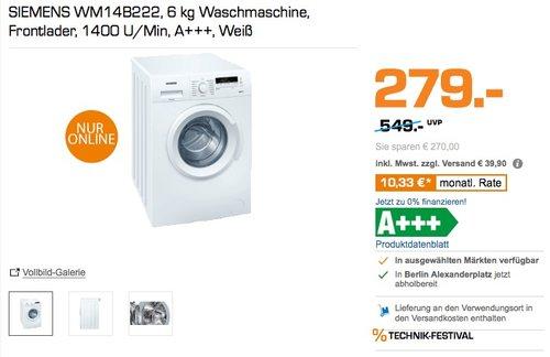 Siemens iQ100 WM14B222 Waschmaschine 6 kg - jetzt 13% billiger