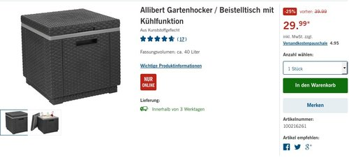 Allibert in Rattanoptik Kühlbox/Beistelltisch Ice Cube, Grau - jetzt 19% billiger