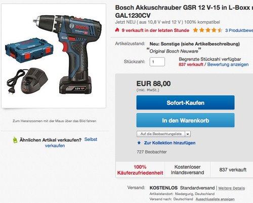 Bosch Akkuschrauber GSR 12 V-15  - jetzt 32% billiger