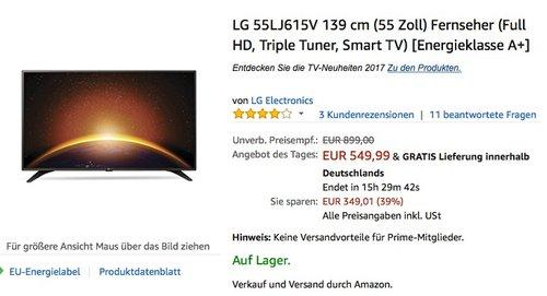 LG 55LJ615V 139 cm (55 Zoll) Smart TV - jetzt 21% billiger