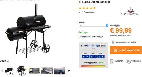 El Fuego Holzkohlegrill/Smoker Dakota - jetzt 9% billiger