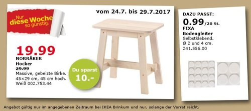 IKEA NORRAKER Hocker, massive Birke, 45x29 cm, 45 cm hoch - jetzt 33% billiger