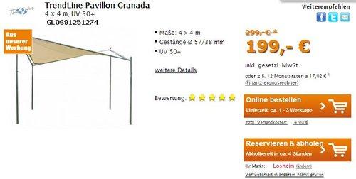 TrendLine Pavillon Granada 4 x 4 m, UV 50+ Gartenpavillon Gartenzelt Festzelt  - jetzt 17% billiger