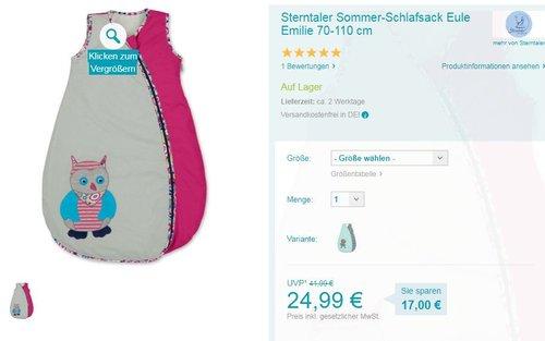 Sterntaler Sommer-Schlafsack 70-110 cm - jetzt 26% billiger