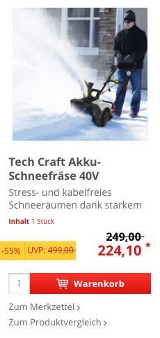 Tech Craft Akku-Schneefräse 40V mit LED-Licht - jetzt 23% billiger