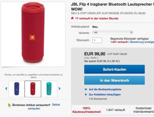 JBL Flip 4 Bluetooth Lautsprecher - Rot - jetzt 9% billiger