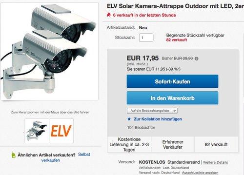 ELV Solar Kamera-Attrappe Outdoor mit LED, 2er-Set - jetzt 28% billiger