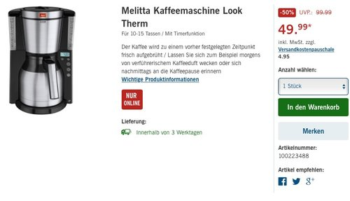 Melitta Kaffeefiltermaschine Look Therm DeLuxe - jetzt 20% billiger