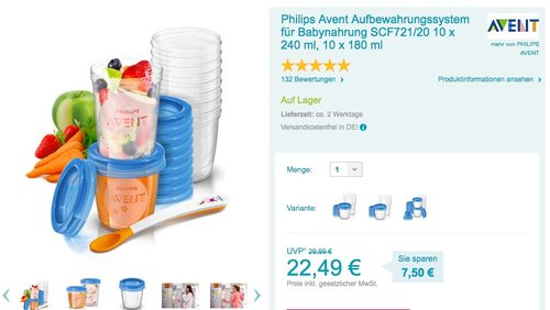 Philips Avent SCF721/20 Aufbewahrungssystem für Babynahrung, 20er Pack (10x180 ml, 10x 240 ml) - jetzt 20% billiger
