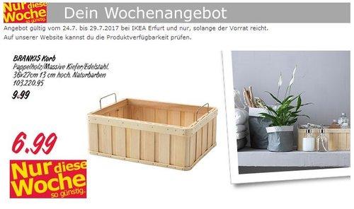 IKEA  BRANKIS Korb, 36x27x13 cm, Papierholz/Kiefer, naturfarben - jetzt 30% billiger