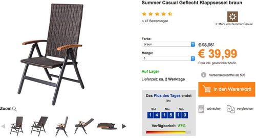 Summer Casual Geflecht Klappsessel - jetzt 42% billiger