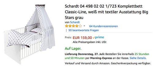 Schardt Komplettbett Classic-Line, weiß mit textiler Ausstattung, Big Stars grau - jetzt 11% billiger