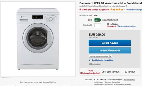 Bauknecht WAK 81 Waschmaschine - 8 kg, 1400 U/Min, A+++ - jetzt 19% billiger
