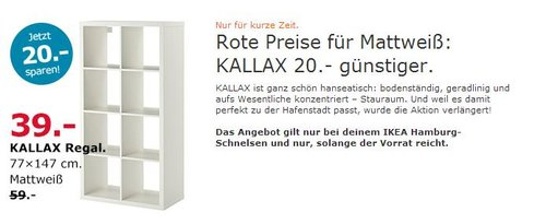 IKEA  KALLAX Regal, 77x147 cm, mattweiß - jetzt 34% billiger