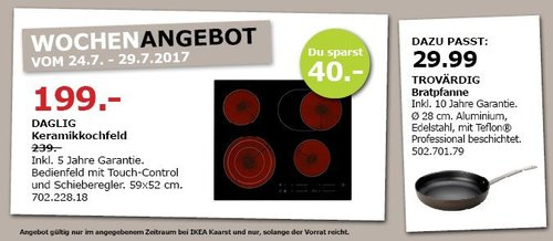 DAGLIG Keramikkochfeld, 59x52 cm, schwarz - jetzt 17% billiger