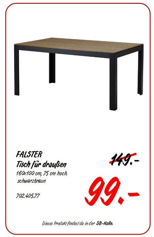 IKEA FALSTER Tisch/außen, 160x100 cm, 75 cm hoch, schwarz/braun - jetzt 34% billiger
