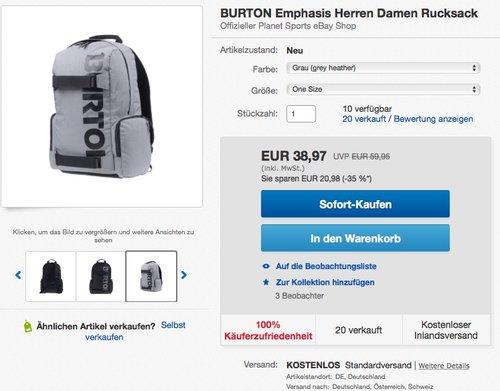 Burton Unisex Alltagsrucksack Emphasis - jetzt 13% billiger
