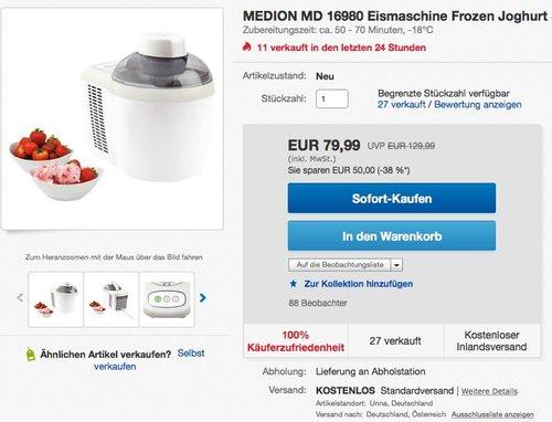 MEDION MD 16980 Eismaschine - jetzt 21% billiger