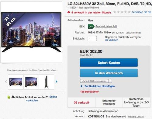 LG 32LH530V 81,28 cm (32 Zoll) Fernseher  - jetzt 14% billiger