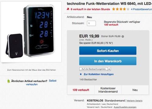 Technoline Wetterstation WS 6840 - jetzt 39% billiger