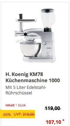 H.Koenig KM78 Küchenmaschine - jetzt 34% billiger