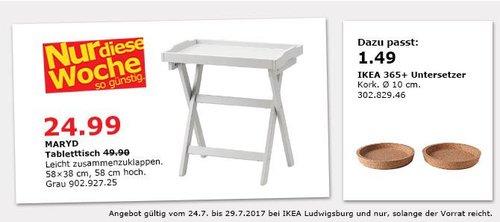 IKEA  MARYD Tabletttisch, 58x38 cm, 58 cm hoch, grau - jetzt 40% billiger