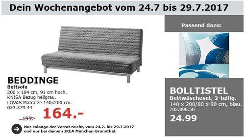 IKEA  BEDDINGE 3er-Bettsofa, 200x104 cm, 91 cm hoch, Knisa hellgrau - jetzt 18% billiger