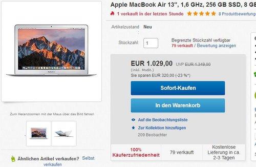 "Apple MacBook Air 13"", 1,6 GHz, 256 GB SSD, 8 GB RAM  - jetzt 9% billiger"