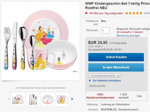 WMF Kindergeschirr-Set 7-teilig Princess Cromargan Edelstahl Rostfrei 18/10 poliert - jetzt 50% billiger