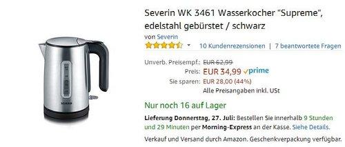 """Severin WK 3461 Wasserkocher """"Supreme"""", Edelstahl gebürstet / schwarz - jetzt 29% billiger"""