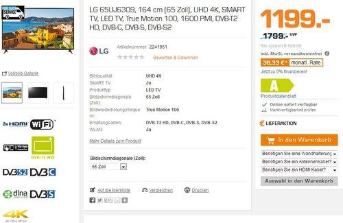 LG 65UJ6309 164 cm (65 Zoll) Fernseher (Ultra HD, Triple Tuner, Smart TV, Active HDR)  - jetzt 20% billiger