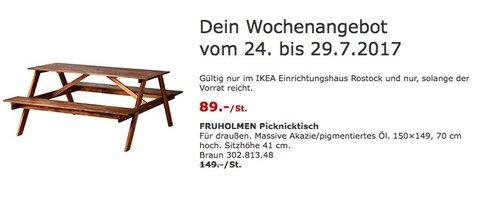 IKEA FRUHOLMEN Picknicktisch für draußen. Massive Akazie/pigmentiertes Öl. 150×149, 70 cm hoch, braun - jetzt 40% billiger