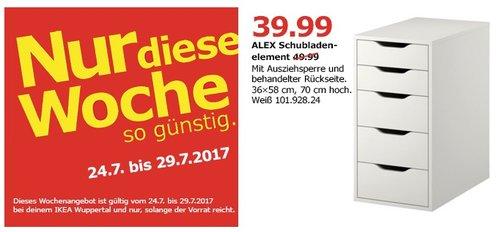 IKEA ALEX Schubladenelement, 5 Schubladen, 36x58 cm, 70 cm, weiß - jetzt 20% billiger