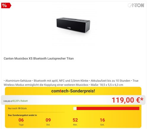 Canton Musicbox XS Bluetooth Lautsprecher - jetzt 14% billiger