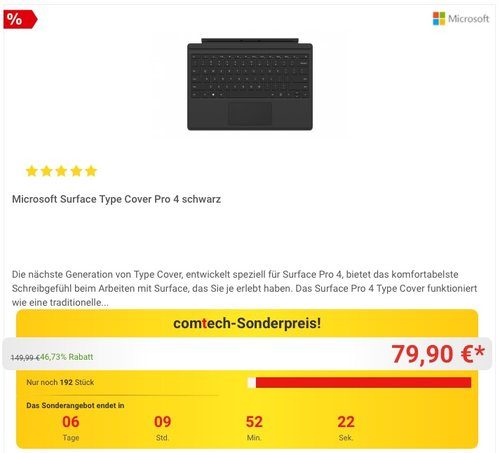 Microsoft Surface Type Cover Pro 4 - jetzt 16% billiger