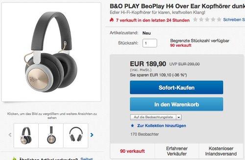 B&O PLAY BeoPlay H4 Over Ear Bluetooth-Kopfhörer - jetzt 9% billiger