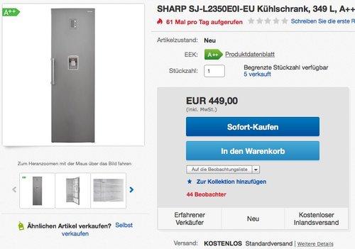 SHARP SJ-L2350E0I-EU Kühlschrank, 349 L, A++ - jetzt 23% billiger